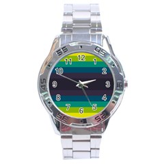 Neon Stripes Line Horizon Color Rainbow Yellow Blue Purple Black Stainless Steel Analogue Watch by Mariart