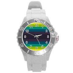 Neon Stripes Line Horizon Color Rainbow Yellow Blue Purple Black Round Plastic Sport Watch (l) by Mariart