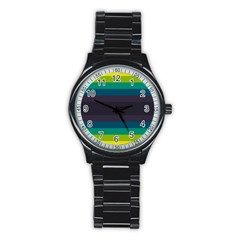 Neon Stripes Line Horizon Color Rainbow Yellow Blue Purple Black Stainless Steel Round Watch by Mariart