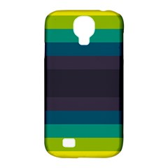 Neon Stripes Line Horizon Color Rainbow Yellow Blue Purple Black Samsung Galaxy S4 Classic Hardshell Case (pc+silicone) by Mariart