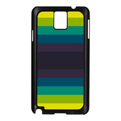 Neon Stripes Line Horizon Color Rainbow Yellow Blue Purple Black Samsung Galaxy Note 3 N9005 Case (black) by Mariart