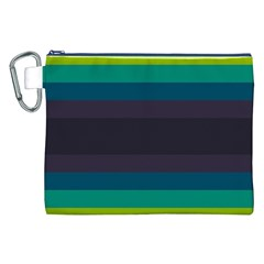Neon Stripes Line Horizon Color Rainbow Yellow Blue Purple Black Canvas Cosmetic Bag (xxl) by Mariart