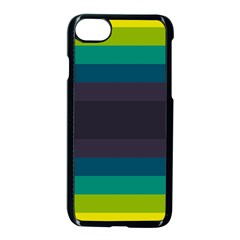 Neon Stripes Line Horizon Color Rainbow Yellow Blue Purple Black Apple Iphone 7 Seamless Case (black) by Mariart