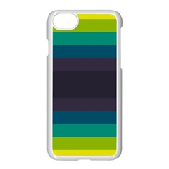 Neon Stripes Line Horizon Color Rainbow Yellow Blue Purple Black Apple Iphone 7 Seamless Case (white) by Mariart