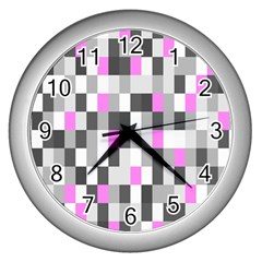 Pink Grey Black Plaid Original Wall Clocks (silver)  by Mariart