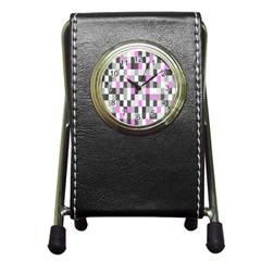 Pink Grey Black Plaid Original Pen Holder Desk Clocks by Mariart