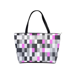 Pink Grey Black Plaid Original Shoulder Handbags by Mariart