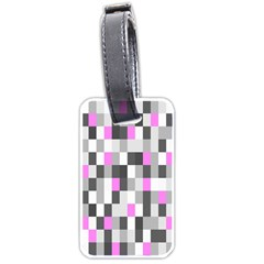 Pink Grey Black Plaid Original Luggage Tags (one Side)  by Mariart