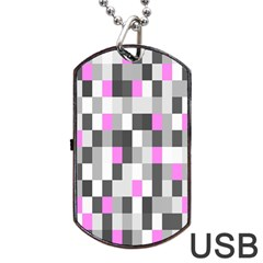 Pink Grey Black Plaid Original Dog Tag Usb Flash (one Side) by Mariart