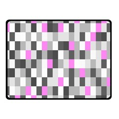 Pink Grey Black Plaid Original Double Sided Fleece Blanket (small)  by Mariart