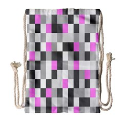 Pink Grey Black Plaid Original Drawstring Bag (large) by Mariart