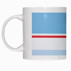 Navy Blue White Red Stripe Blue Finely Striped Line White Mugs by Mariart