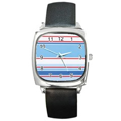Navy Blue White Red Stripe Blue Finely Striped Line Square Metal Watch by Mariart