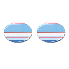 Navy Blue White Red Stripe Blue Finely Striped Line Cufflinks (oval) by Mariart