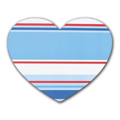 Navy Blue White Red Stripe Blue Finely Striped Line Heart Mousepads by Mariart