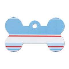 Navy Blue White Red Stripe Blue Finely Striped Line Dog Tag Bone (one Side) by Mariart