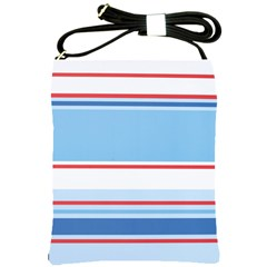 Navy Blue White Red Stripe Blue Finely Striped Line Shoulder Sling Bags by Mariart
