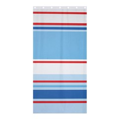 Navy Blue White Red Stripe Blue Finely Striped Line Shower Curtain 36  X 72  (stall)  by Mariart
