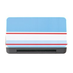 Navy Blue White Red Stripe Blue Finely Striped Line Memory Card Reader With Cf by Mariart