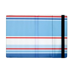Navy Blue White Red Stripe Blue Finely Striped Line Apple Ipad Mini Flip Case by Mariart