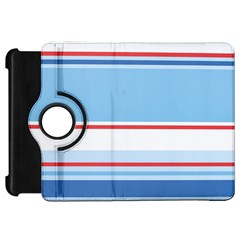 Navy Blue White Red Stripe Blue Finely Striped Line Kindle Fire Hd 7  by Mariart