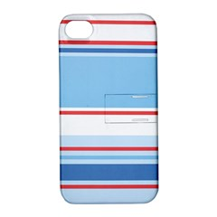 Navy Blue White Red Stripe Blue Finely Striped Line Apple Iphone 4/4s Hardshell Case With Stand by Mariart
