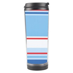 Navy Blue White Red Stripe Blue Finely Striped Line Travel Tumbler by Mariart