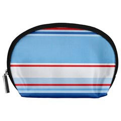 Navy Blue White Red Stripe Blue Finely Striped Line Accessory Pouches (large)  by Mariart