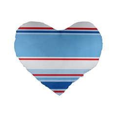 Navy Blue White Red Stripe Blue Finely Striped Line Standard 16  Premium Flano Heart Shape Cushions by Mariart
