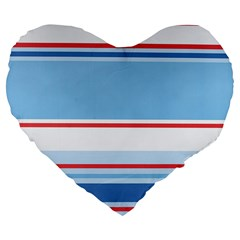 Navy Blue White Red Stripe Blue Finely Striped Line Large 19  Premium Flano Heart Shape Cushions by Mariart