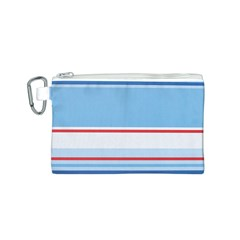 Navy Blue White Red Stripe Blue Finely Striped Line Canvas Cosmetic Bag (s) by Mariart
