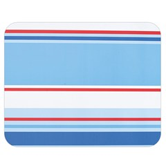 Navy Blue White Red Stripe Blue Finely Striped Line Double Sided Flano Blanket (medium)  by Mariart
