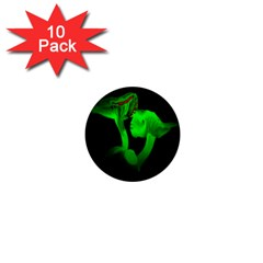 Neon Green Resolution Mushroom 1  Mini Buttons (10 Pack)  by Mariart