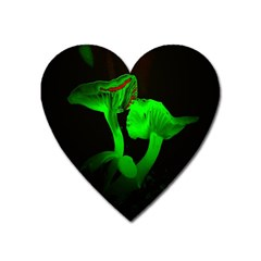 Neon Green Resolution Mushroom Heart Magnet by Mariart