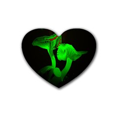 Neon Green Resolution Mushroom Rubber Coaster (heart)  by Mariart