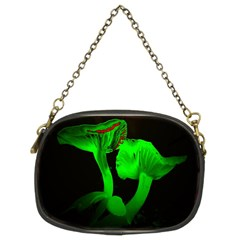 Neon Green Resolution Mushroom Chain Purses (two Sides)  by Mariart