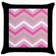 Pink Red White Grey Chevron Wave Throw Pillow Case (black) by Mariart
