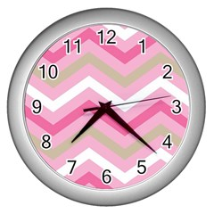 Pink Red White Grey Chevron Wave Wall Clocks (silver)  by Mariart