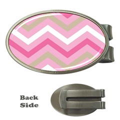 Pink Red White Grey Chevron Wave Money Clips (oval)  by Mariart