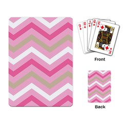 Pink Red White Grey Chevron Wave Playing Card by Mariart