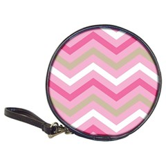 Pink Red White Grey Chevron Wave Classic 20 Cd Wallets by Mariart