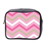 Pink Red White Grey Chevron Wave Mini Toiletries Bag 2-Side Front