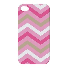 Pink Red White Grey Chevron Wave Apple Iphone 4/4s Premium Hardshell Case by Mariart