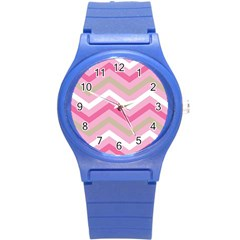 Pink Red White Grey Chevron Wave Round Plastic Sport Watch (s) by Mariart