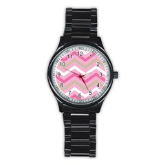 Pink Red White Grey Chevron Wave Stainless Steel Round Watch by Mariart