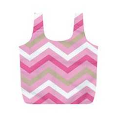 Pink Red White Grey Chevron Wave Full Print Recycle Bags (m)  by Mariart