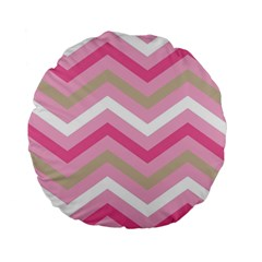 Pink Red White Grey Chevron Wave Standard 15  Premium Flano Round Cushions by Mariart