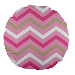 Pink Red White Grey Chevron Wave Large 18  Premium Flano Round Cushions by Mariart