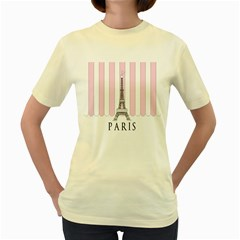 Pink Paris Eiffel Tower Stripes France Women s Yellow T Shirt by Mariart