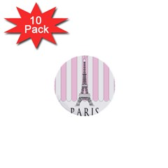 Pink Paris Eiffel Tower Stripes France 1  Mini Buttons (10 Pack)  by Mariart